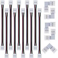 5pcs connecteur de séparation rapide, 10mm l forme 4 conducteurs pour 5050 rgb avec 10pcs 5050 connecteur de lumière de bande de rgb