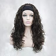 ヘッドバンドの栗茶色の波状長い合成女性の半分のかつらを持つ新しいファッション3/4ウィッグ