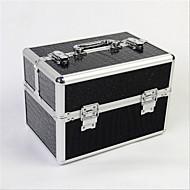 Professional Makeup Bag With Lock Box Multilayer Double Door Aluminum Alloy Makeup Storage Box