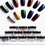 12pcs 2g/Box Nail Glitter Powder Shinning Mirror Eye Shadow Makeup Powder Dust Nail Art DIY Chrome Pigment Glitter