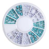 160PCS 2/2.5/4mm 3D Acrylic Nail Art Decorations Flat Back Rhinestones Turquoise Decoration Wheel Nail Art Slices DIY