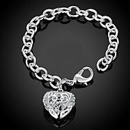 Női Lánc & láncszem karkötők Elbűvölő karkötők Ezüst Szív Divat Imádni való Személyre szabott Heart Shape Szerelem Ezüst Ékszerek 1db