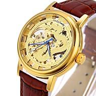 CAGARNY 男性 スケルトン腕時計 ファッションウォッチ リストウォッチ 機械式時計 透かし加工 自動巻き 本革 バンド ビンテージ クール カジュアルスーツ ラグジュアリー ブラック ブラウン