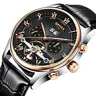 Hommes Montre Habillée / Montre Squelette / Bracelet Montre / Montre mécanique Remontage automatique Calendrier / Chronographe / Etanche