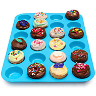 24 Cavity Silicone Muffin Cupcake Cookie Chocolate Mold Pan Baking Tray Mould Random Color