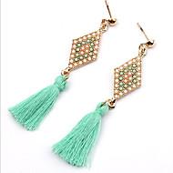 Druppel oorbellen imitatie Ruby Kwasten Modieus Stof Legering Sieraden Zwart Groen Sieraden Voor Feest Dagelijks Causaal 1 paar
