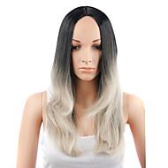 여성 인조 합성 가발 캡 없음 스트레이트 흑옥색 그레이 내츄럴 가발 의상 가발