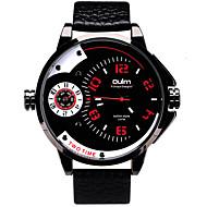 Oulm Herren Armbanduhr Quartz Duale Zeitzonen Echtes Leder Band Cool Bequem Luxuriös Schwarz Schwarz Rot Blau