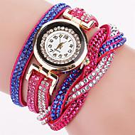 Xu™ 아가씨들 패션 시계 팔찌 시계 석영 PU 밴드 빈티지 캐쥬얼 화이트 블루 레드 오렌지 그린