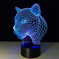 New Creative 3D Illusion Lamp Leopard Head 3D LED Touch Switch Colorful Desk Lamp Atmosphere Acrylic Stereoscopic USB Table Lamp