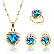 ジュエリー 1×ネックレス / 1×イヤリング(ペア) / リング 模造サファイア パーティー / 日常 1セット 女性 ブルー ウェディングギフト