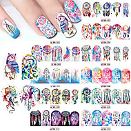 12Pcs/Set Nail Sticker Water Transfers Stickers Nail Decals TASSEL FEATHER DANGLE