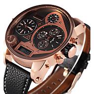 Oulm Herren Militäruhr Armbanduhr Quartz LED Drei-Zeit-Zonen PU Band Cool Bequem Luxuriös Schwarz Braun Weiß Schwarz Kaffee