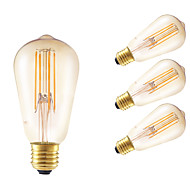 6W E27 LED Filament Bulbs ST58LF 4 COB 550 lm Amber Dimmable / Decorative AC 220-240 V 4 pcs