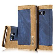 For Samsung Galaxy S7 Edge Kortholder Pung Med stativ Flip Magnetisk Etui Heldækkende Etui Helfarve Hårdt Tekstil for SamsungS7 edge S7