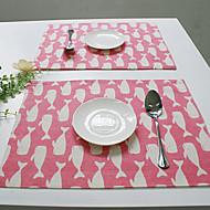 Suorakulma Painettu Patterned Placemats , Cotton Blend materiaali Hotel ruokapöytä Taulukko Dceoration