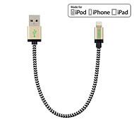 ritagliarsi MFI 0.6ft / 20cm di nylon lampo per cavo dati USB per il iphone 7 6s 6 Plus SE 5s 5 / ipad mini