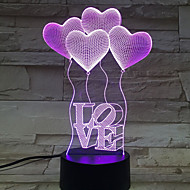 Four heart LOVE 3D Birthday Gift Night Light Touch Contral Colorful Acrylic Stereo Light Energy Gradient Desk Lamp Night Lights