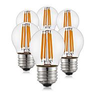 4W E26/E27 LED필라멘트 전구 G45 4 COB 400 lm 따뜻한 화이트 AC 220-240 V 6개