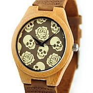 男性用 ファッションウォッチ 腕時計 ウッド ユニークなクリエイティブウォッチ クォーツ 木製 ウッド バンド スカル カジュアルスーツ ブラウン