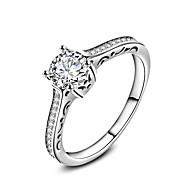 指輪 結婚式 パーティー 日常 カジュアル ジュエリー ジルコン バンドリング 指輪 婚約指輪 1個,6 7 8 9 10 シルバー