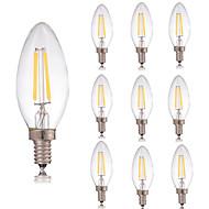 10pcs 2W E14 LED Filament Bulbs C35 2 COB 180lm Warm/Cool White Led Edison Glass Light Candle Lamp Christmas Light AC220-240V