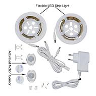 ywxlight® 2835smd 3W 36led varmvit svalt vitt eu plug dubbelsäng rörelse aktiveras säng ljus 2x1.2m flexibel remsa timer sensor för (DC