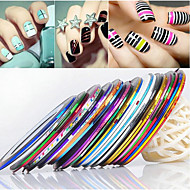 24PCS Mixs Kleur Striping Tape Line Nail Stripe Tape Nail Art Decoratie Sticker