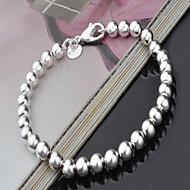 女性 ストランドブレスレット 銀メッキ ファッション 円形 シルバー ジュエリー 1個