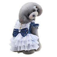 犬用品 ドレス 犬用ウェア 夏 ブリティッシュ キュート ファッション クラシック ダークブルー ライトブルー