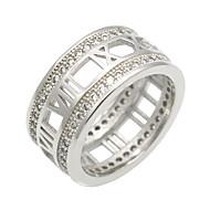 指輪 キュービックジルコニア サークル 幾何学形 円形 ダブルレイヤー ファッション ビンテージ パンクスタイル あり ヒップホップ Rock 欧米の 高級ジュエリー キュービックジルコニア チタン鋼 円形 ナンバー シルバー ジュエリー のためにパーティー