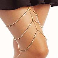 女性 ボディジュエリー レッグチェーン ファッション ラインストーン 幾何学形 ゴールド シルバー ジュエリー のために パーティー Halloween 1個