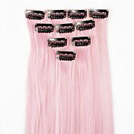neitsi 10kpl 18inch värillinen kohokohta synteettinen leike hiusten pidennykset vaaleanpunainen