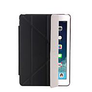 용 스탠드 자동 슬립/웨이크 기능 플립 반투명 오리가미 케이스 풀 바디 케이스 단색 하드 인조 가죽 용 Apple iPad (2017) iPad Pro 9.7'' iPad Air 2 iPad Air iPad 4/3/2