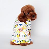 고양이 개 티셔츠 파자마 옐로우 블루 핑크 강아지 의류 여름 모든계절/가을 만화 귀여운 캐쥬얼/데일리
