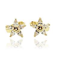 Ørering Imiteret Diamant Zirkonium Rødguldbelagt Unikt design Mode Personaliseret Hypoallergenisk Euro-Amerikansk Stjerneformet Rose Guld
