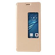 Mert Betekintő ablakkal Automatikus készenlét/ébresztés Flip Case Teljes védelem Case Egyszínű Kemény Műbőr mert HuaweiHuawei P10 Huawei