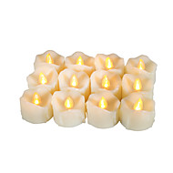 Set of 12 Premium Flameless Votive Candles with Dripping with Timer Battery-operated LED Candles Long Battery Life 200 Hours Battery Included.