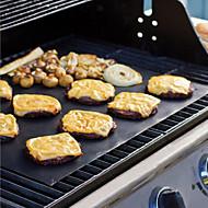 3Pcs Extra Thick Heat Resistant Teflon BBQ Grill Mat Reusable Non-Stick Barbecue Grilling Sheet Liner BBQ  Mat