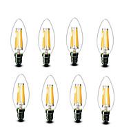 4.5W E14 フィラメントタイプLED電球 C35 6 COB 600 lm 温白色 装飾用 AC220 AC230V印加時 AC240 V 8枚