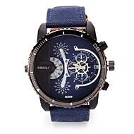JUBAOLI 男性 ユニセックス 軍用腕時計 クォーツ カレンダー 2タイムゾーン 大きめ文字盤 生地 バンド クール ブラック レッド グリーン ネービー レッド グリーン ブルー