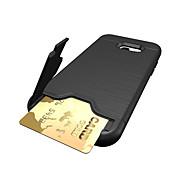 Para Porta-Cartão Antichoque Capinha Capa Traseira Capinha Cor Única Rígida PC para Samsung A3 (2017) A5 (2017) A7 (2017)