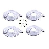 El cable de extensión largo de 4pcs 2m conecta el enchufe femenino para la tira del rgb 3528 5050 con el conectador de 8pcs 4pin masculino