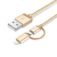 Lightning Micro USB All-In-1 Tressé 1 à 2 Câble Pour iPhone iPad Huawei Xiaomi cm Aluminium Nylon