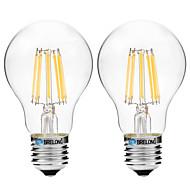 2pcs BRELONG Dimming A60 E27 8W 8LED 600LM Antique Filament Lamp Warm White / White AC22OV Transparent Bulb Light