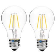 4W LED필라멘트 전구 A60(A19) 4 COB 300 lm 따뜻한 화이트 화이트 V 2개