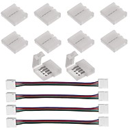 10pcs 4-pins led strip connector voor 5050 rgb led strip lichten en 4pcs led 5050 rgb strip licht connector 4 geleider 10 mm brede strip