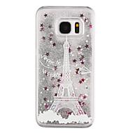 Samsung Galaxy S8 ja s8 puhelimen tapauksessa eiffel kuvio virtaava juoksuhiekkaa neste kimallus muovi pc materia s7 reuna s7