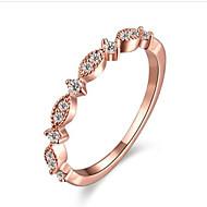 指輪 ラインストーン 模造ダイヤモンド ファッション ゴールドメッキ 円形 ジュエリー のために 誕生日 日常 1個