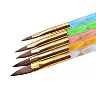 5pc Set Brush UV Gel Polish Decoration Carving Crystal Pen Wood Nail Art Builder Drawing Painting Manicure Tool